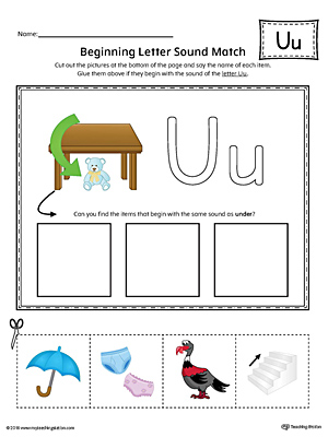 Short Letter U Beginning Sound Picture Match Worksheet (Color)