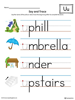 Practice saying and tracing words that begin with the short letter U sound in this printable worksheet.