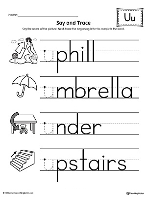 Say and Trace: Short Letter U Beginning Sound Words Worksheet