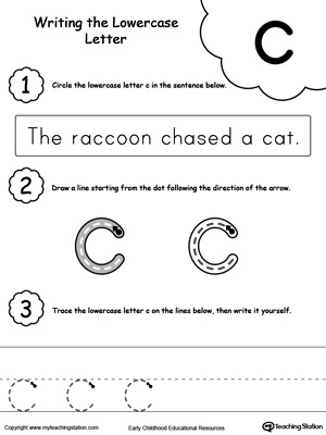 Practice writing alphabet lowercase letter C in this printable worksheet.