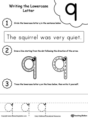 Writing Lowercase Letter Q