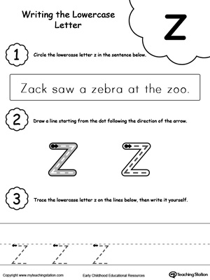 Writing Lowercase Letter Z