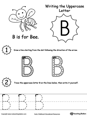 writing uppercase letter b. Black Bedroom Furniture Sets. Home Design Ideas