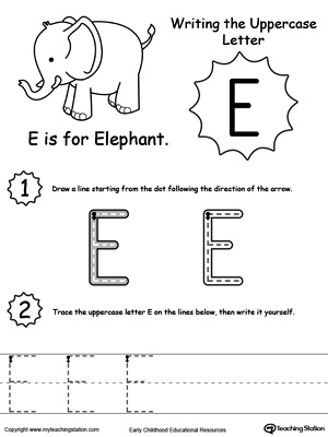 Writing Uppercase Letter E Myteachingstation