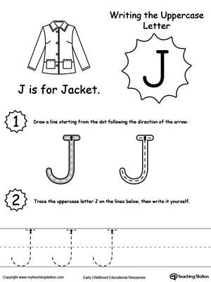 Delightful Writing Uppercase Letter J. DownloadFREE Worksheet