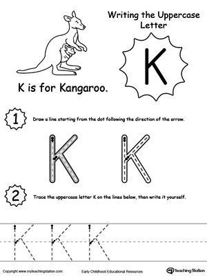 Printables K Worksheets For Kindergarten learning beginning letter sound k myteachingstation com writing uppercase k