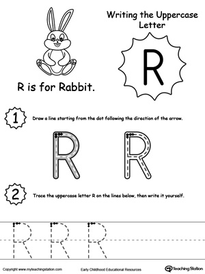 1 page worksheet writing uppercase letter r