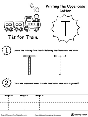 math worksheet : writing uppercase letter t  myteachingstation  : Letter Worksheet For Kindergarten