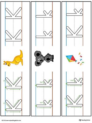 Letter K Formation Writing Mat Printable (Color)