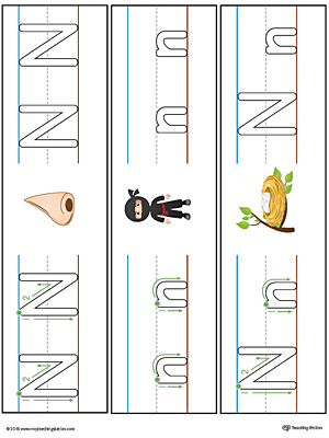 Letter N Formation Writing Mat Printable (Color)
