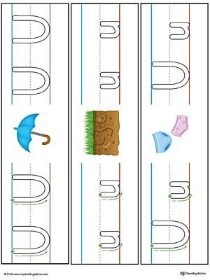Letter U Formation Writing Mat Printable (Color)
