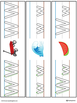 Letter W Formation Writing Mat Printable (Color)
