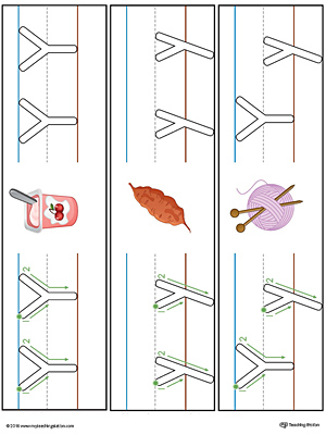 Letter Y Formation Writing Mat Printable (Color)