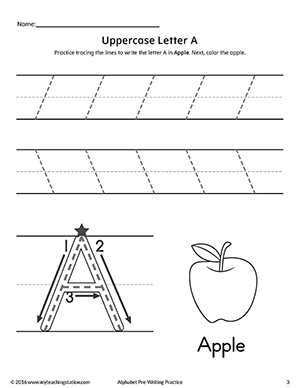 Uppercase Letter A Pre-Writing Practice Worksheet ...
