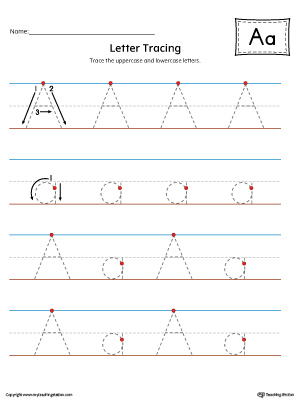 Letter A Tracing Printable Worksheet (Color)