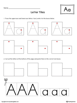 Letter A Tracing and Writing Letter Tiles