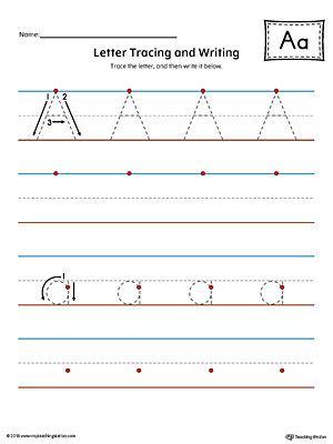 Letter A Tracing and Writing Printable Worksheet (Color ...