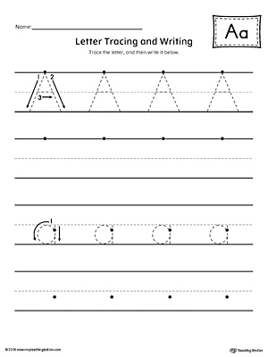 Letter A Tracing And Writing Printable Worksheet Myteachingstation Com
