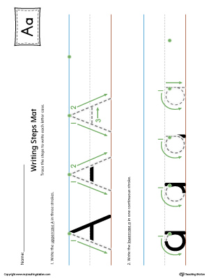 Letter A Writing Steps Mat Printable (Color)
