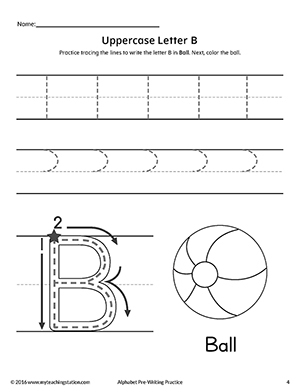 Uppercase Letter B Pre-Writing Practice Worksheet