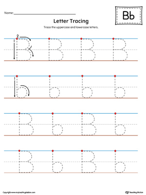 Letter B Tracing Printable Worksheet (Color)