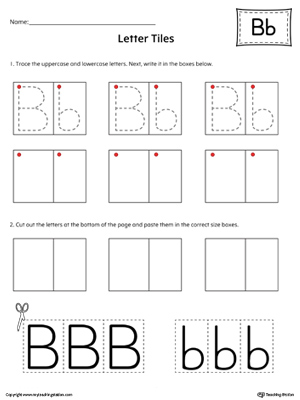 photograph about Letter Tiles Printable called Letter B Tracing and Creating Letter Tiles