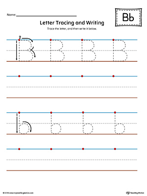 Letter B Tracing and Writing Printable Worksheet (Color)