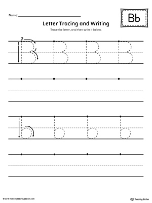 Letter B Tracing And Writing Printable Worksheet Myteachingstation Com