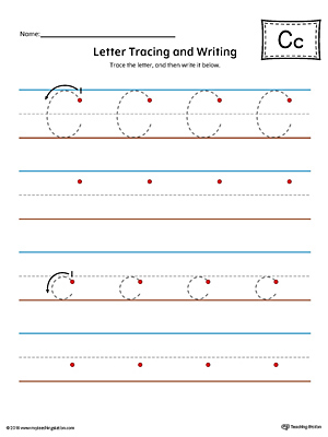 Letter C Tracing and Writing Printable Worksheet (Color)
