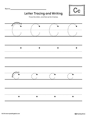 letter c tracing and writing printable worksheet. Black Bedroom Furniture Sets. Home Design Ideas