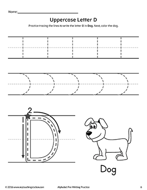 uppercase letter d pre writing practice worksheet. Black Bedroom Furniture Sets. Home Design Ideas