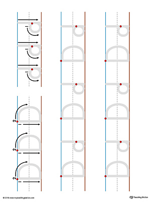 Practice writing the lowercase and uppercase letter D with this printable writing mat.