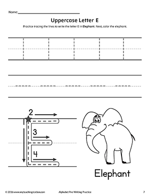 Uppercase Letter E Pre-Writing Practice Worksheet