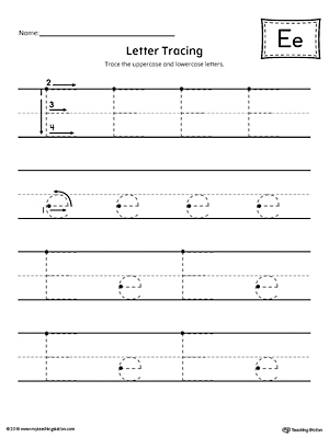 Letter E Tracing Printable Worksheet
