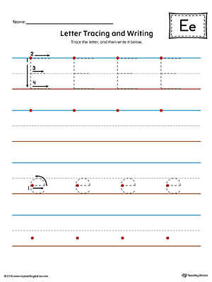 Letter E Tracing and Writing Printable Worksheet (Color)