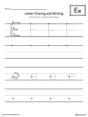 Letter E Tracing and Writing Printable Worksheet