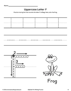 Uppercase Letter F Pre-Writing Practice Worksheet