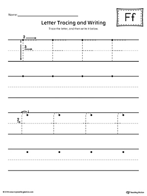 Letter F Tracing and Writing Printable Worksheet