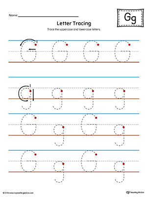 Letter G Tracing Printable Worksheet (Color)