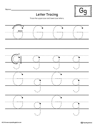 Letter G Tracing Printable Worksheet