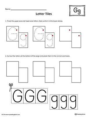 Letter G Tracing and Writing Letter Tiles