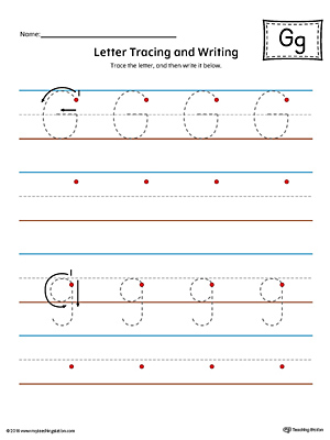 Letter G Tracing and Writing Printable Worksheet (Color)