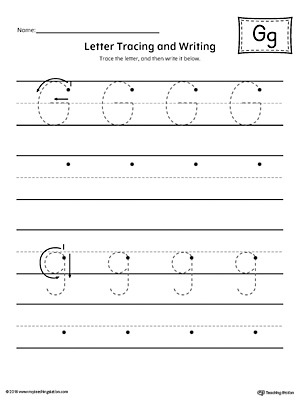 letter g tracing and writing printable worksheet. Black Bedroom Furniture Sets. Home Design Ideas