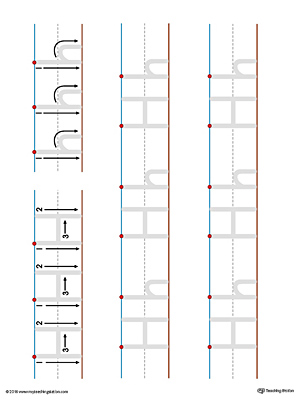 Uppercase and Lowercase Letter H Printable Writing Mat (Color)