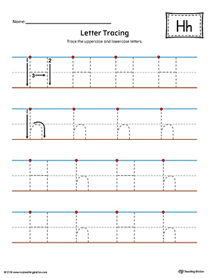 Letter H Tracing Printable Worksheet (Color)