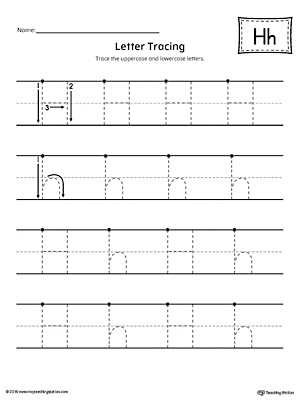 Letter H Tracing Printable Worksheet
