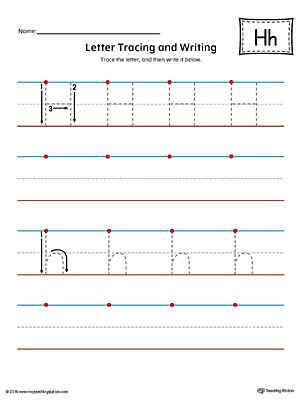 Letter H Tracing and Writing Printable Worksheet (Color)