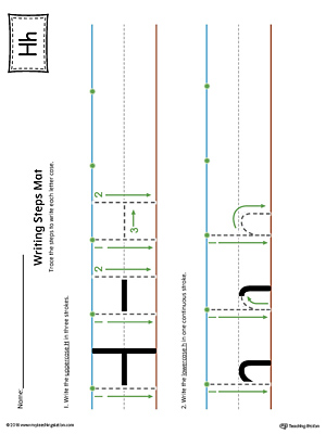 Letter H Writing Steps Mat Printable (Color)