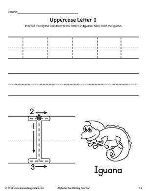 uppercase letter i pre writing practice worksheet. Black Bedroom Furniture Sets. Home Design Ideas