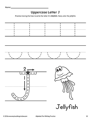 Uppercase Letter J Pre-Writing Practice Worksheet